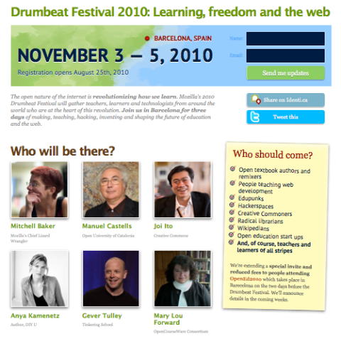 Drumbeat Festival promo page includes pictures of headline attendees